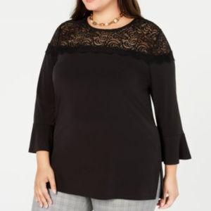 Michael Kors Plus Size Lace-Yoke Top Black 2X